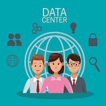 Datacentertechnologie en zakenmensen