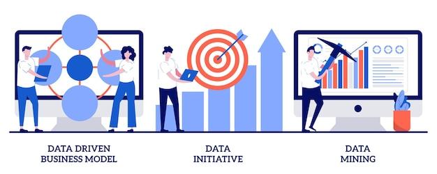 Datagedreven bedrijfsmodel, data-initiatief, datamining-illustratie met kleine mensen