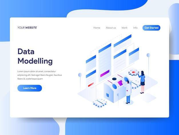 Datamodellering isometrisch voor website-pagina