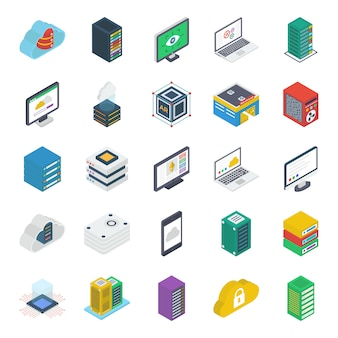 Dataserver technologie isometrische pictogrammen pack