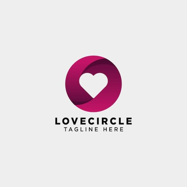 Daterend liefde cirkel gradiënt logo vector pictogram geïsoleerd