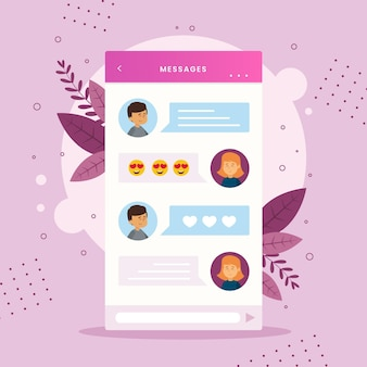 Dating app chat-interface stijl