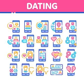 Dating app collectie elementen icons set