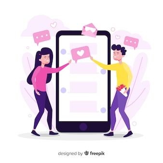 Dating app concept hand getrokken