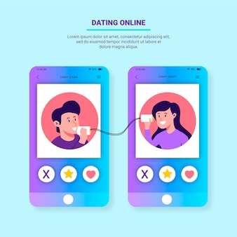 Dating app concept met telefoons