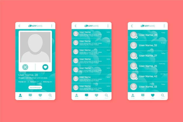 Dating app interface collectie sjabloon