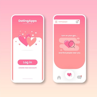 Dating app-interface collectie