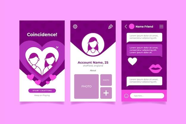 Dating app-interface sjabloonpakket