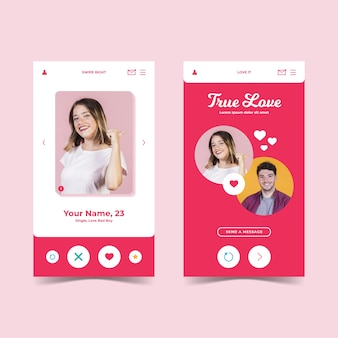 Dating app-interface stijl