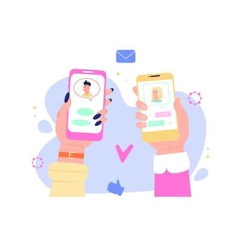 Dating app match concept twee handen met telefoons met romantische interface
