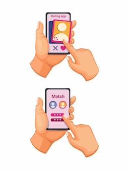 Dating app smartphone gebaar symboolset cartoon afbeelding
