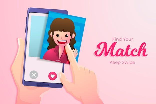Dating app swipe concept