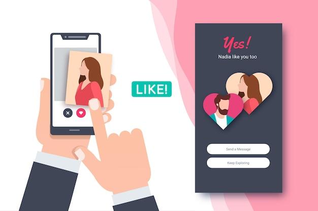 Dating app swipe-interface sjabloon