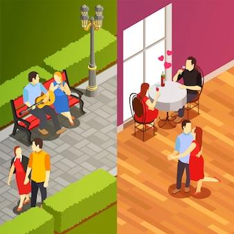 Dating isometrische verticale banners