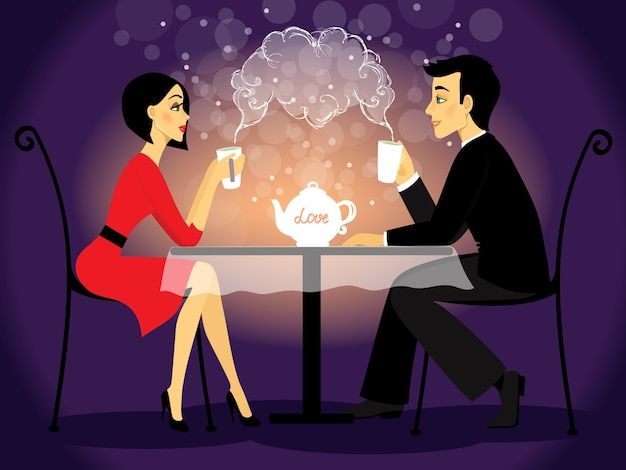 Dating paar scène, liefde bekentenis
