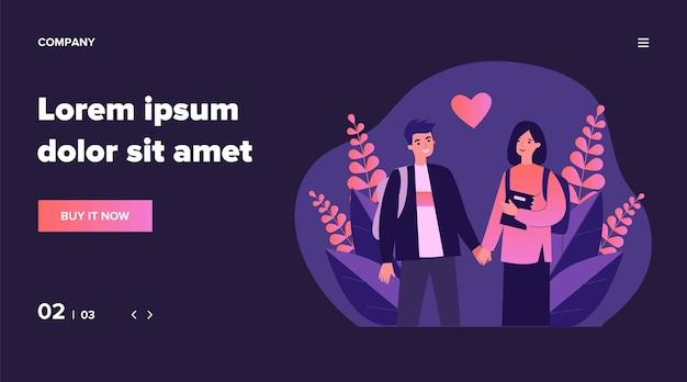 Dating paar studenten. gelukkig jonge man en vrouw hand in hand, rood hart vorm illustratie. liefde, relatie, romantiek concept voor banner, website of bestemmingswebpagina