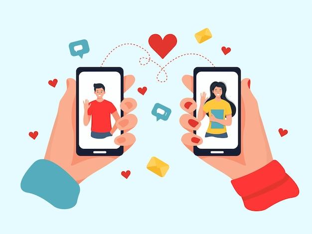 Dating service app, hand met smartphones met foto van de mens.