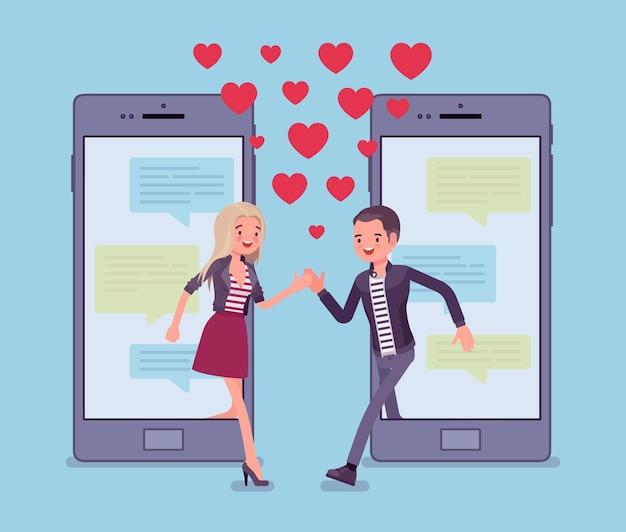 Dating van mobiele applicatie, koppel match op smartphonescherm met chat