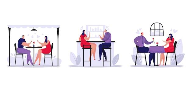 Datum in café set, romantisch diner voor man vrouw karakter, set vectorillustratie. mensen koppelen karakterdrankje in restaurant. cartoon dating, gelukkige persoon die samen aan tafel zit.