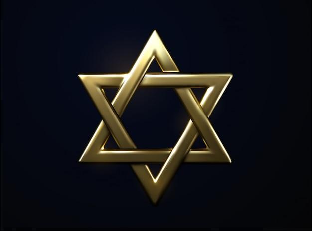 Davidster gouden teken. 3d-afbeelding. jodendom religieus symbool. joodse cultuur teken. metaal hexagram.