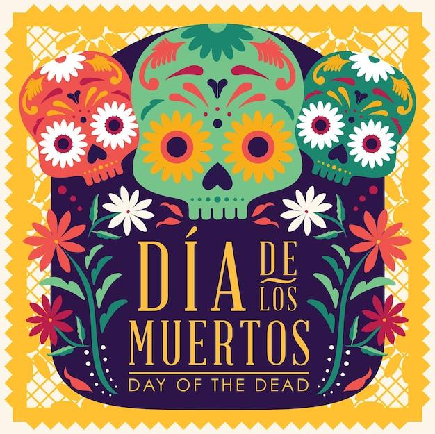 Day of the dead (in het spaans) compositie - kopieer de ruimte