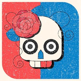 Day of the dead kleurrijke schedel met bloemenornament