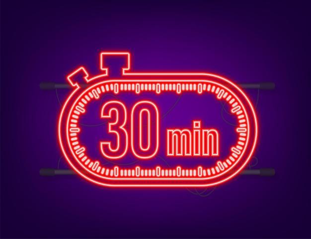 De 30 minuten, stopwatch vector neon icoon. stopwatch pictogram in vlakke stijl, timer op op gekleurde achtergrond. vector illustratie.