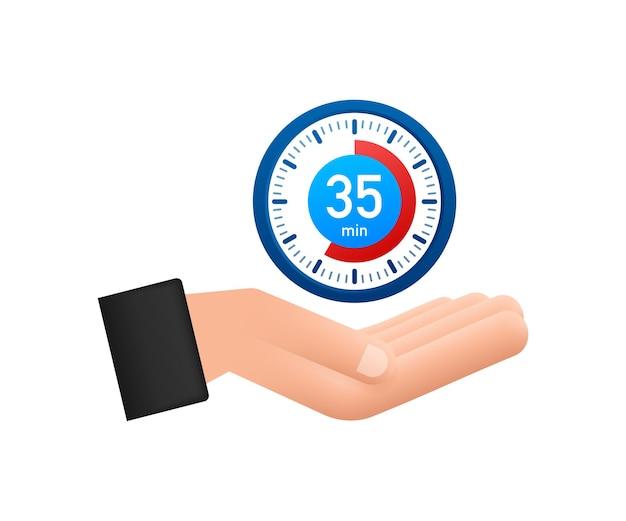 De 35 minuten stopwatch met handenpictogram stopwatchpictogram in vlakke stijl