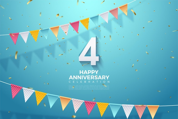De 4e verjaardag met de illustratie van 3d-dimensionale nummers die verschijnen en onder de kleurrijke vlag.