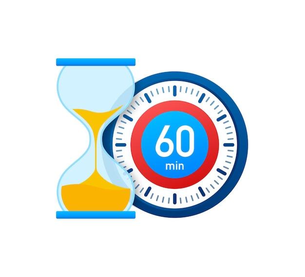 De 60 minuten, stopwatch vector icoon. stopwatch pictogram in vlakke stijl, timer op op gekleurde achtergrond. vector illustratie.