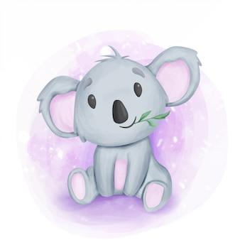 De aanbiddelijke koala van de baby zit en eet blad
