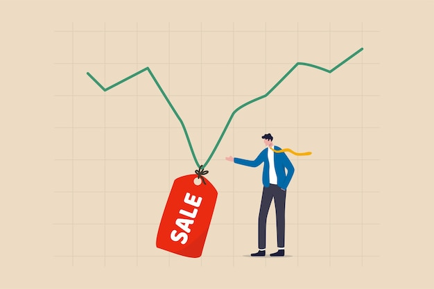 De aandelenmarkt is te koop wanneer de markt in een economische crisis stort