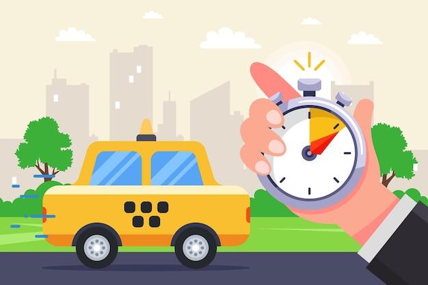De aankomst van een taxi getimed met een stopwatch