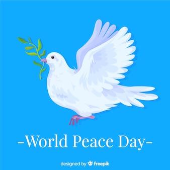 De aankondigende duif op internationale vredesdag