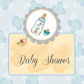 De aankondigingskaart van de baby met melkfles en fopspeen