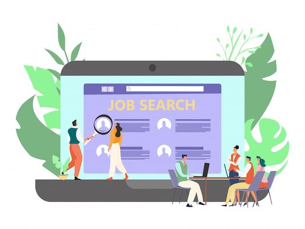 De aanwerving van de werkgelegenheid op bedrijfkantoor, illustratie. teamwerker kiest kandidaten, studievragenlijst