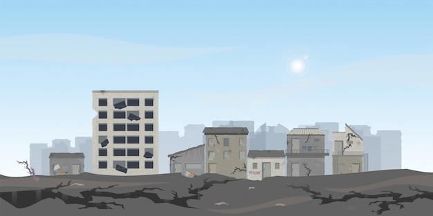 De aardbeving verwoestte huizen en straat.