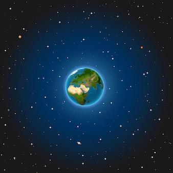 De aarde in de ruimte