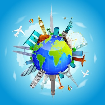 De aarde reist het wereldconcept op blauwe hemelachtergrond