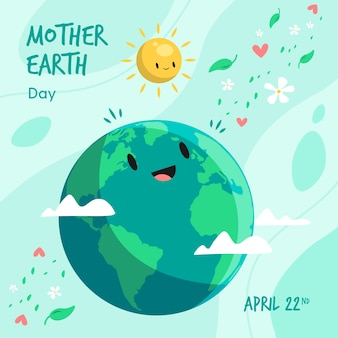 De aardedag die van de moeder bij zon glimlacht