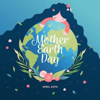 De aardedag van de moeder met vrouw die de planeet houdt