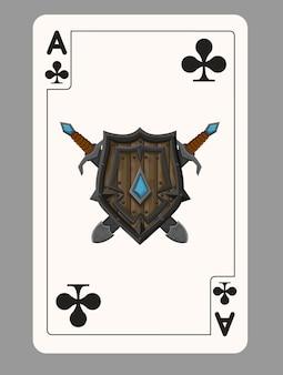 De aas van speelkaarten van clubs