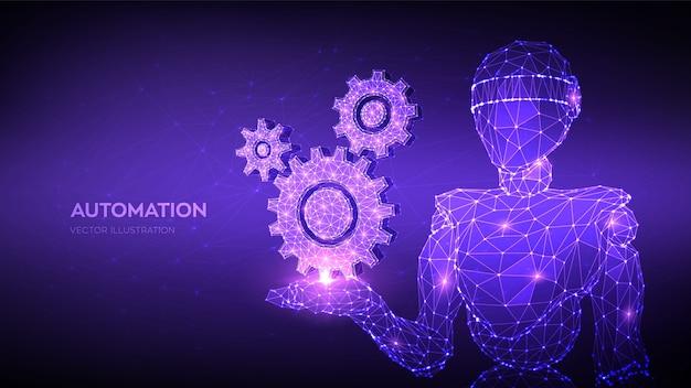 De abstracte 3d lage veelhoekige toestellen van de robotholding. mechanische technologie machinebouw symbool in de hand. rpa.