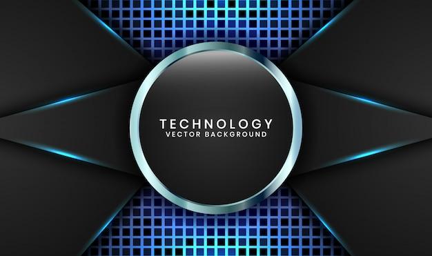 De abstracte 3d zwarte achtergrond van de cirkeltechnologie met willekeurige vierkante geweven, overlappende lagen met blauwe lichteffectdecoratie