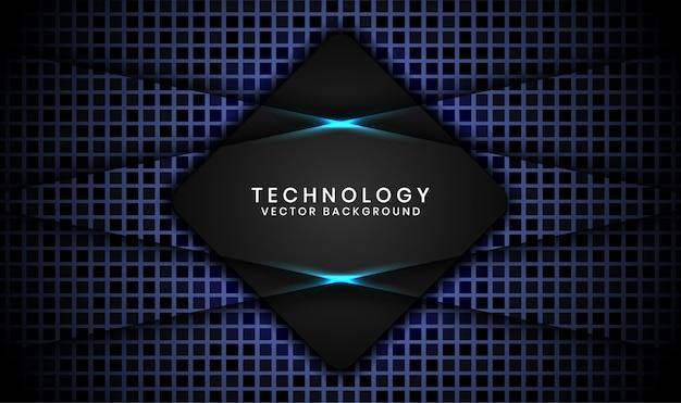 De abstracte 3d zwarte achtergrond van de ruittechnologie met willekeurige vierkante geweven, overlappende lagen met blauwe lichteffectdecoratie