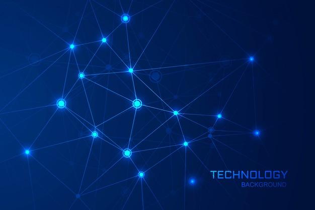 De abstracte achtergrond van de technologiewetenschap met het verbinden van het ontwerp van veelhoeklijnen