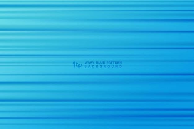 De abstracte blauwe golvende achtergrond van het het patroonkunstwerk van de streeplijn. Premium Vector