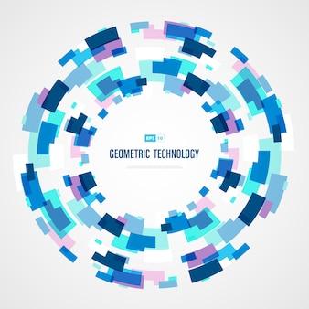 De abstracte blauwe kleur van de technologie vierkante cirkel van futuristische achtergrond.