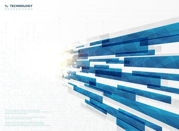 De abstracte blauwe vierkante lijnen van de technologiestreep geometrisch met gloeddecoratie