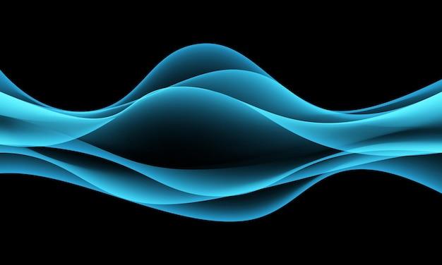 De abstracte blauwe vlotte lichte rook van de krommegolf op zwarte achtergrond